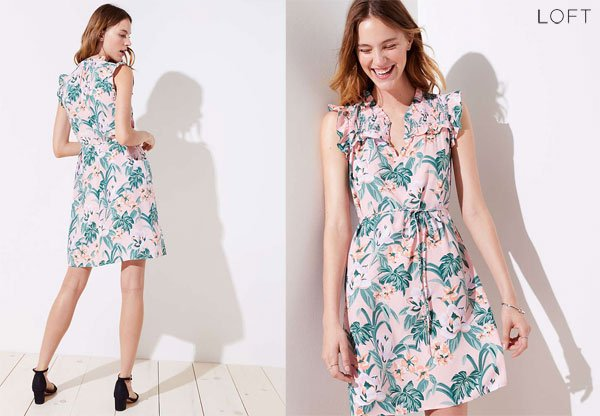 Loft Lily Ruffle Tie Waist Dress