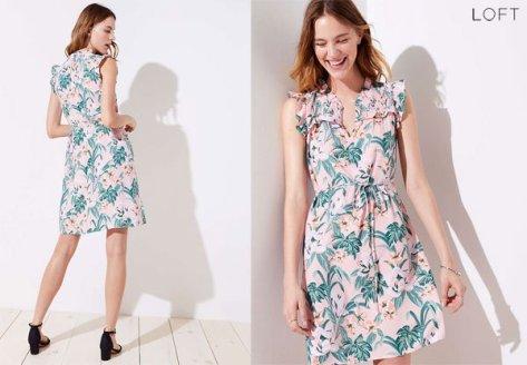 Loft Lily Ruffle Tie Waist Dress