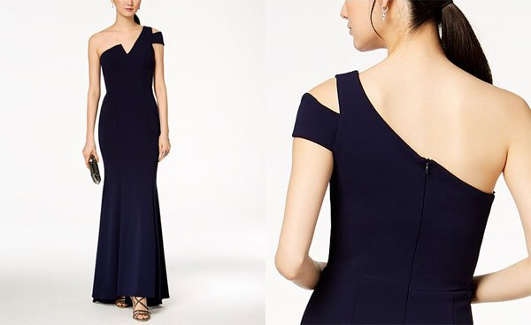 Macy's Betsy & Adam One-Shoulder A-Line Gown