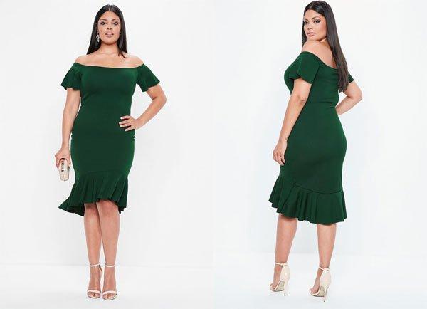 Missguided Curve Green Bardot Dip Bodycon Dress