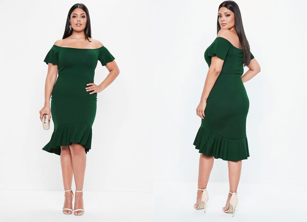 Missguided Curve Green Bardot Dip Bodycon Dress