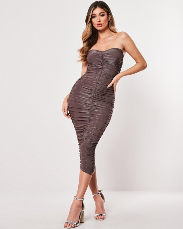 Missguided Taupe Extreme Ruched Bandeau Midi Dress
