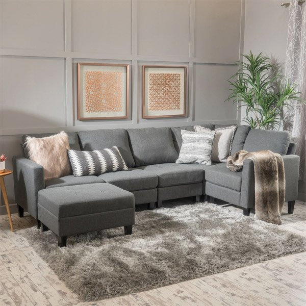 Overstock 6 Piece Fabric Sofa Sectional with Ottoman
