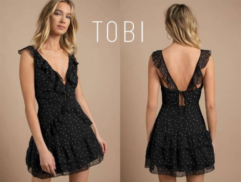 Tobi Say Hello Black Ruffle Skater Dress