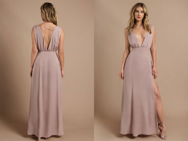 Tobi Take Me There Champagne Plunging Maxi Dress