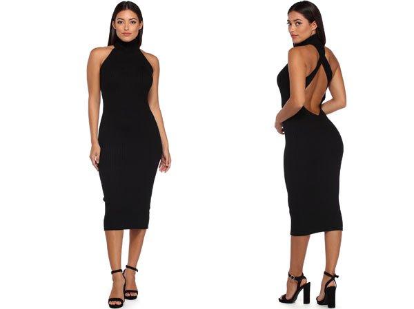 Windsor Black Backless Sweater Dress Under $15