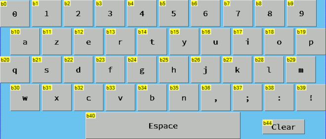 Aperçu du clavier d'écran tactile. Clavier alphanumérique azerty créer avec des composant boutons.