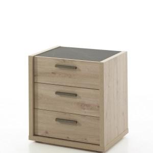 Chevet ELENA chêne artisanal/marbre gris