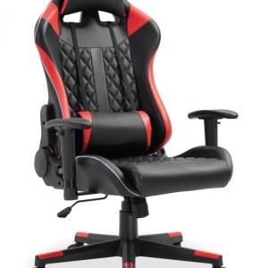 Chaise de jeubureau Taylor Rouge/noir avec LEDH 128 x L -W 53 x P 53 cmPieds métal et plastic