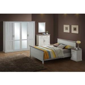 Pack Chambre à coucher Sella (lit 160 cm + garde robe + chevet)- Chêne clair / Top Marron