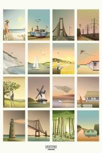Danmarks-billeder Vissevasse - Broer, fiskerbåde, campingvogn, togskinner, sort sol, vindmølle, fyrtårn, skov og æbletræ.