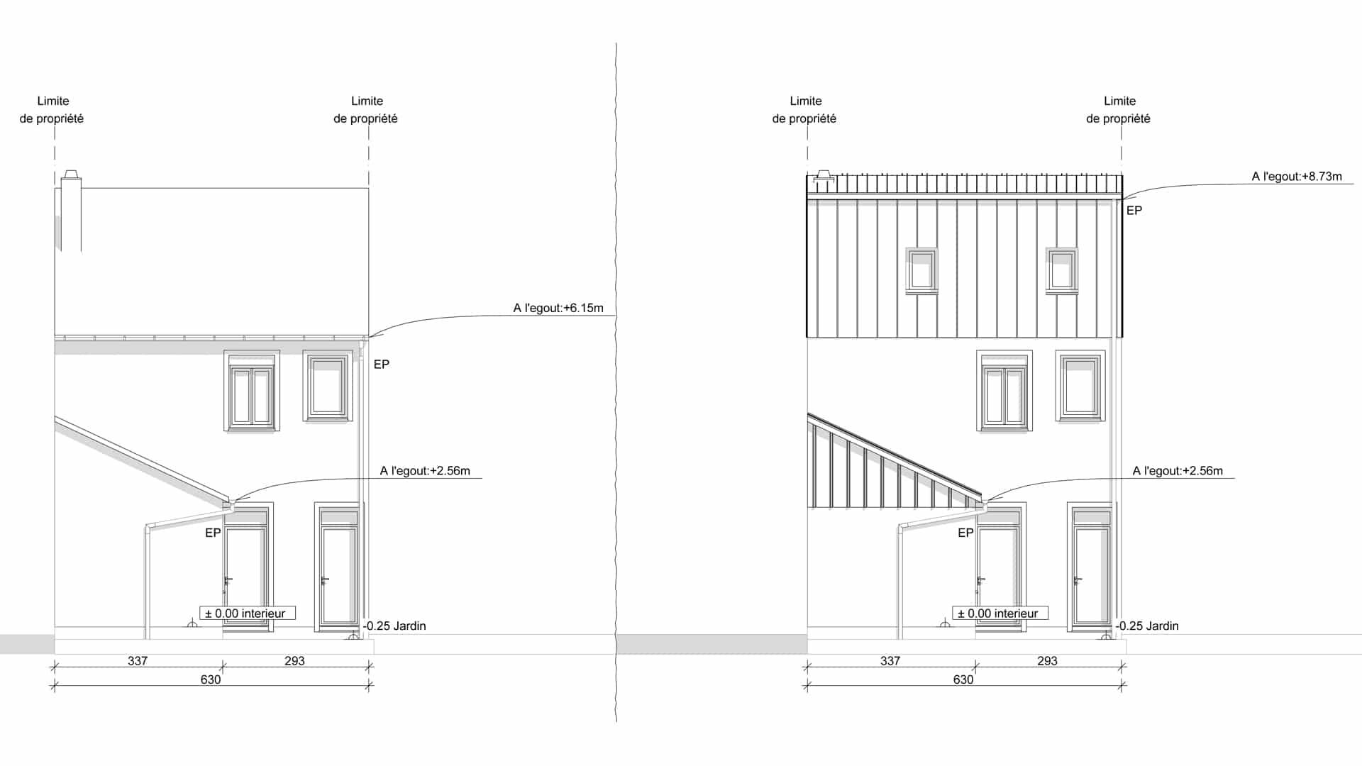 Permis de construire de surélévation de toiture - Plan Assistance