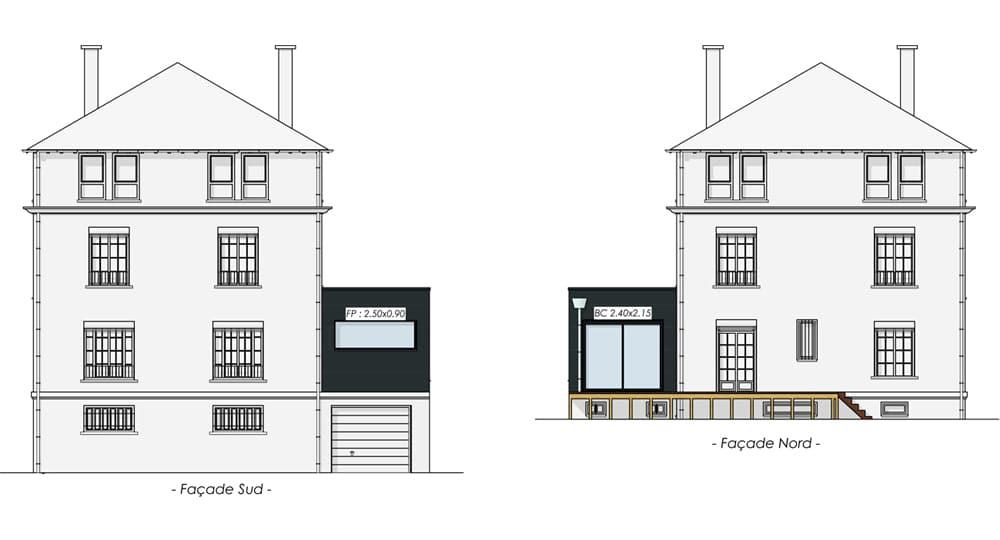 Plan des façades pour extension