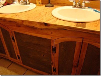 Bathroom Vanity Built with Rough Cut Sawmill Lumber  Plan