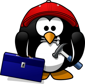 Graphic of penguin carry hammer and toolbox