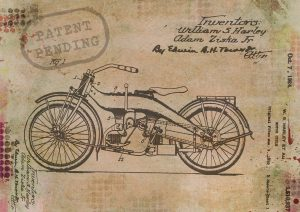 Patent drawing of a motorcycle