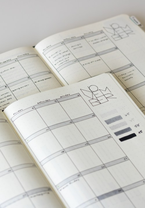 Having a practice bullet journal allows you to try things about before committing, like in this monthly calendar layout.