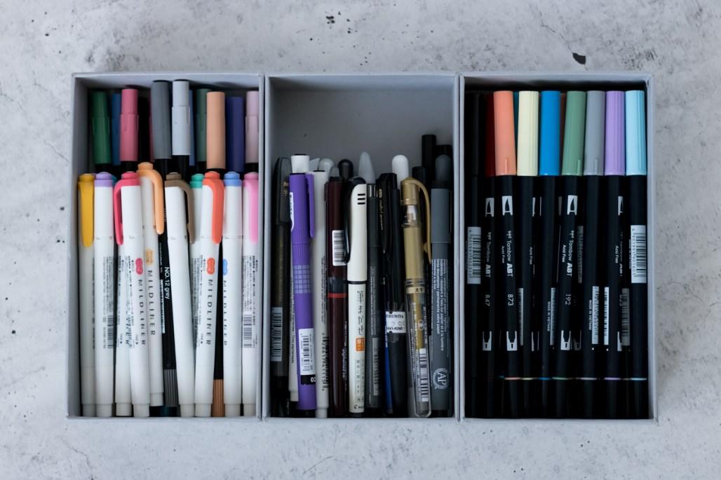 bullet journal supplies pens markers mildliner tombow brush pen