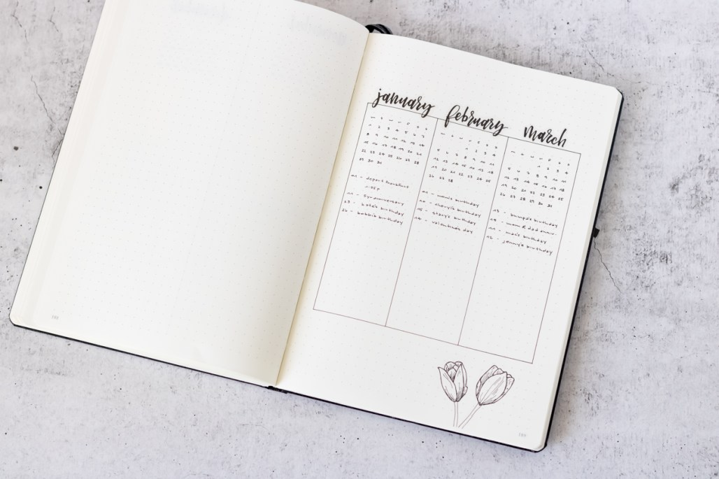 Bullet Journal - Future Log Layout Ideas for 2018