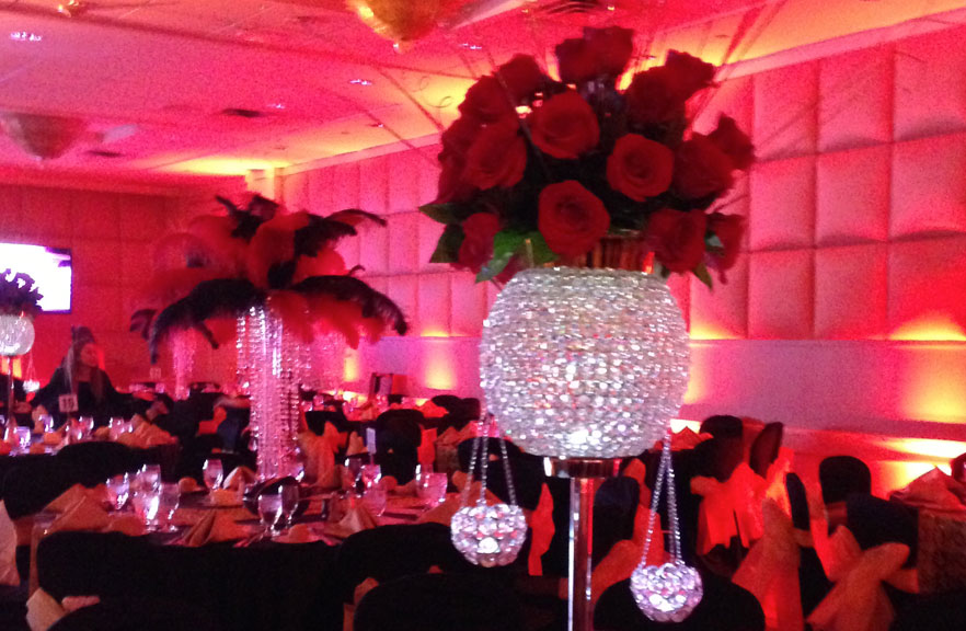 Tall Crystal and Red Rose Centerpiece  Plan A Party Mare