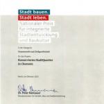 Urkunde: Nationale Preis für integrierte Stadtentwicklung und Baukultur an Stadthalten Chemnitz und planart4
