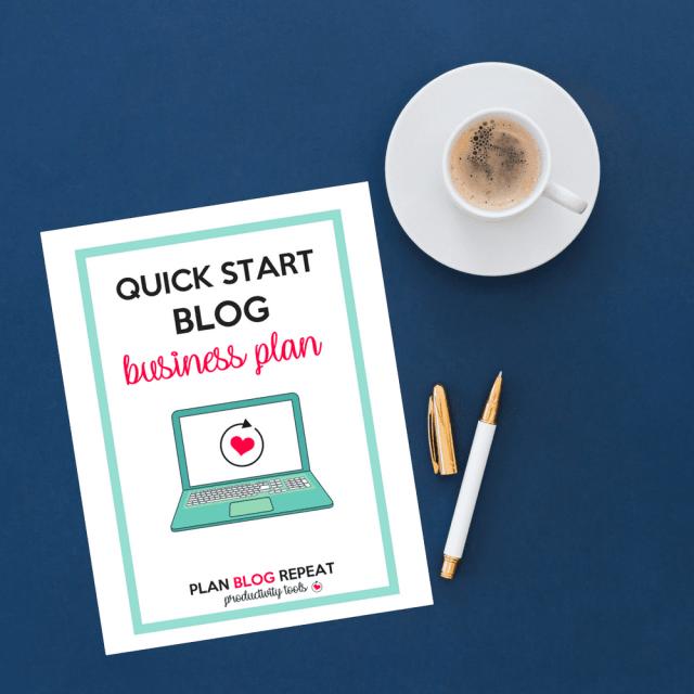Quick Start Blog Business Plan - Planner Insert