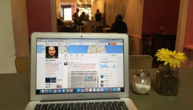 Hot-desking in Pink Lane Coffee, Newcastle