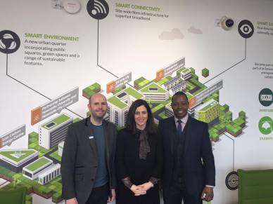Paul Lancaster (Plan Digital), Joanna Shields (UK Minister for Internet Safety & Security) & Doug Jones (Tech North)