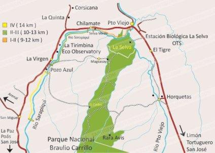 Mapa Rápidos Sarapiqui- Costa Rica