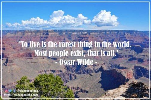 'Vivir es lo más raro del mundo. La mayoría de la gente existe, eso es todo.' - Oscar Wilde