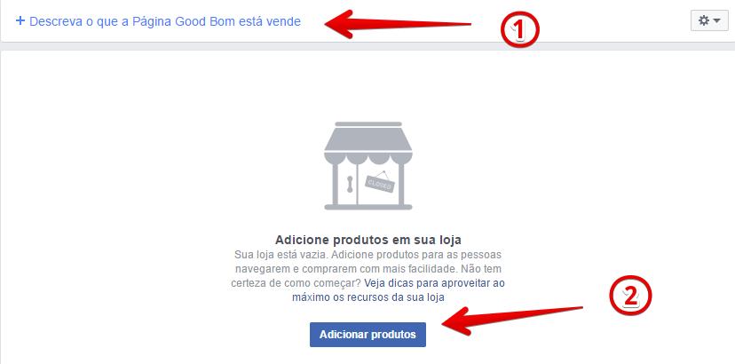 como criar loja no facebook