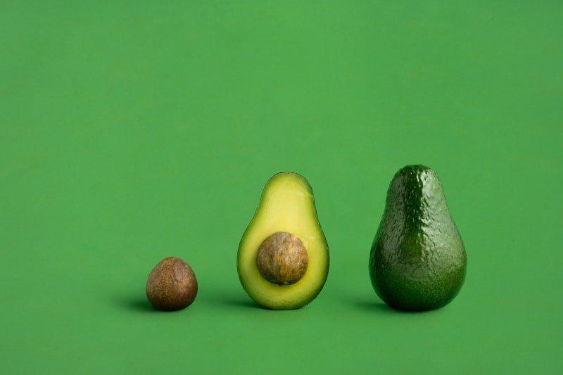 Uma imagem de um caroço de abacate, metade do abacate e um abacate inteiro como ilustração de uma breve e criativa campanha.