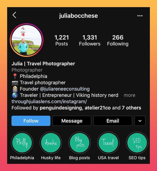 Exemplo de bio do fotógrafo no Instagram