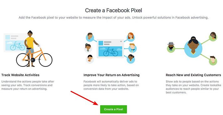 crie um novo pixel do Facebook