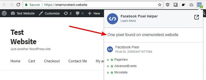 como testar o pixel do facebook