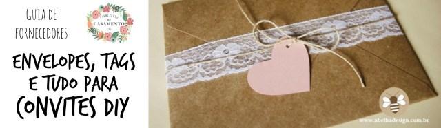 Convites de casamento DIY: onde comprar envelopes, tags etc. para fazer convite de casamento em casa.