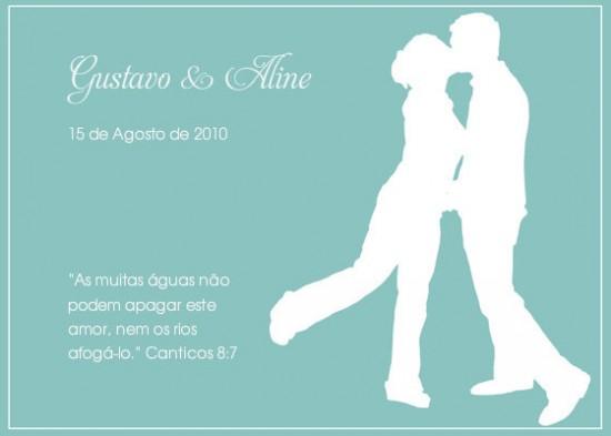 Convite de noivado azul