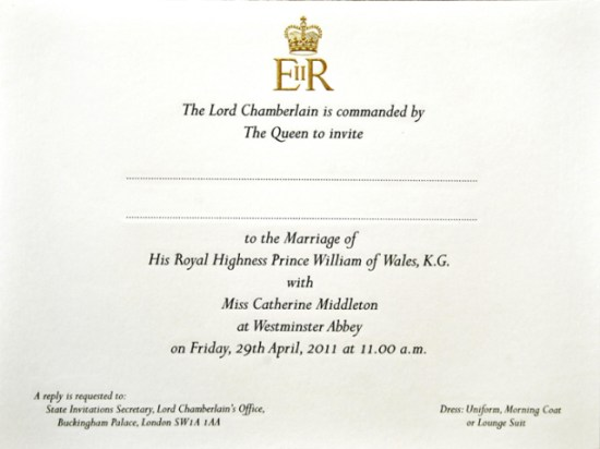 Convite de casamento do príncipe William e Kate Midleton