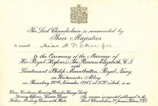 Cconvite de casamento da Rainha Elizabeth e príncipe Philip da Inglaterra