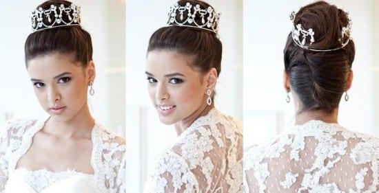 Penteado de noiva estilo princesa: cora e coque alto