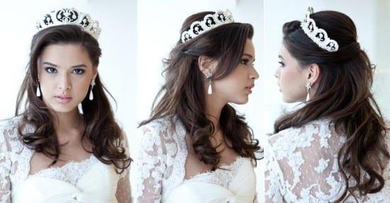 Penteado de noiva estilo princesa: solto com coroa