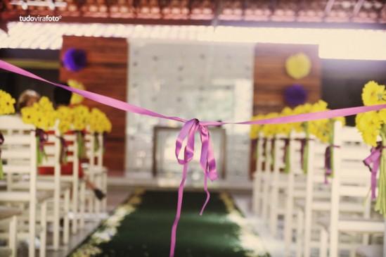 Decoração de Casamento em amarelo e roxo