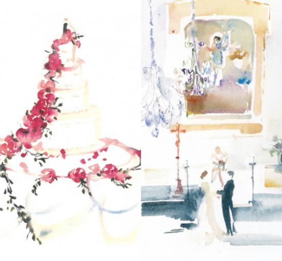 Aquarela de casamento de Anne Watkins.