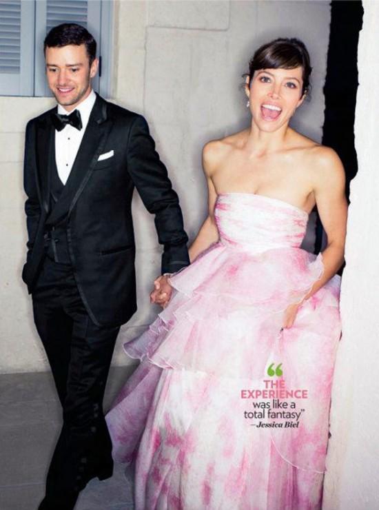 Casamento de Justin Timberlake e Jessica Biel: o vestido de noiva cor de rosa
