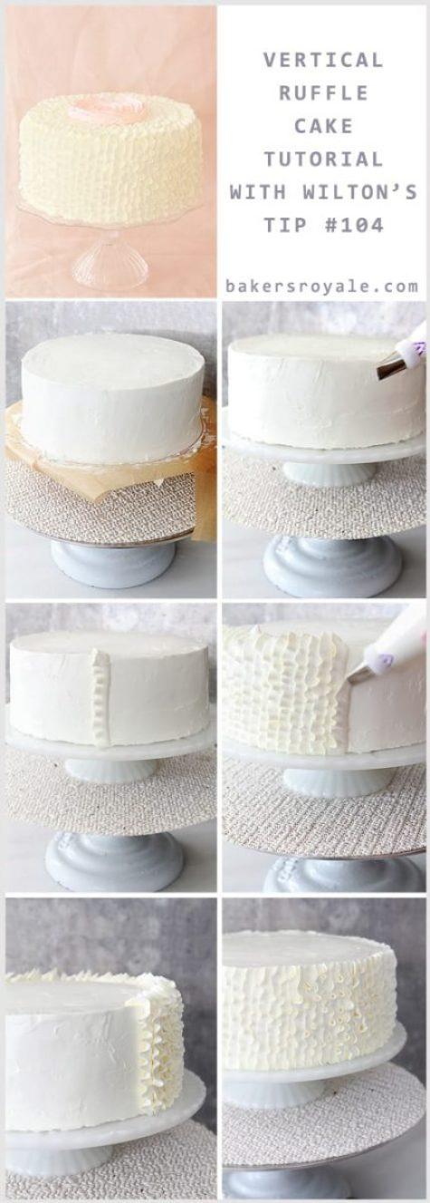 Tutorial: como fayer cobertura de bolo de casamento com babados (ruffled cake).