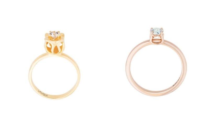 Anel de noivado solitário em ouro e diamante da Lalique.