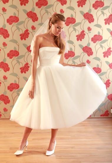 Vestido de noiva Soeurs Waziers: saia de tule abaixo do joelho