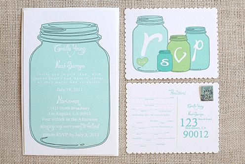 Modelo de convite de chá de panela com pote de vidro para baixar - Planejando Meu Casamento