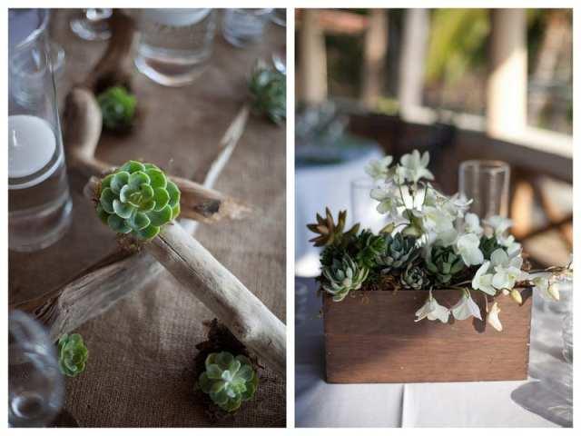 Decoração de casamento gay com arranjos de centro de mesa com suculentas. Foto: Confort Studio.