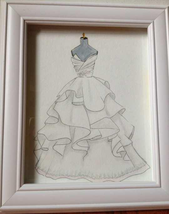 Ilustração em aquarela com desenho de vestido de noiva para quadro (por Zoia, na Etsy).